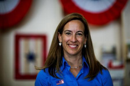 FILE PHOTO: U.S. Democratic congressional candidate Mikie Sherrill poses for a picture as she campaigns during the New Jersey State Fair in Augusta, New Jersey, U.S., August 12, 2018. Picture taken on August 12, 2018. REUTERS/Eduardo Munoz