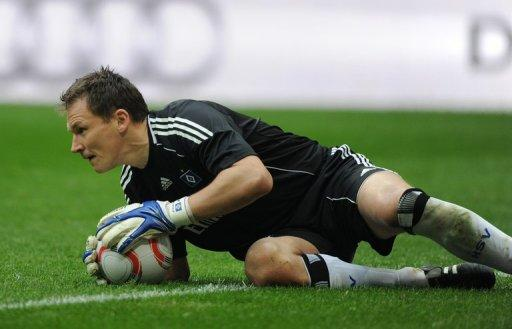 Hamburg's goalkeeper Frank Rost makes a save during their German first division Bundesliga match vs Bayern Munich, in Munich, southern Germany, on March 12. Hamburg are currently seventh in the table and four points off a place in the Champions League