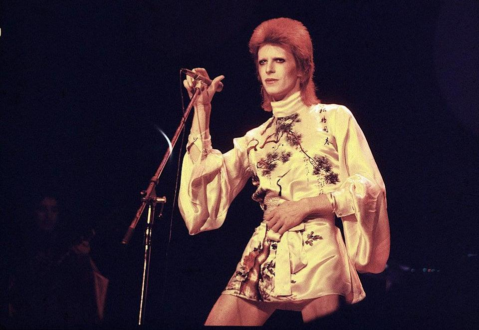 David Bowie performs on stage in the 70s