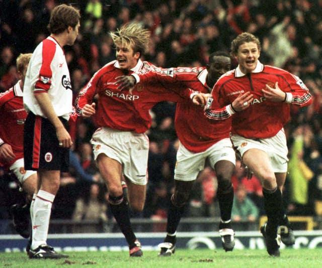 Ole Gunnar Solskjaer celebrates scoring the winner in the sides' FA Cup fourth-round clash in 1999