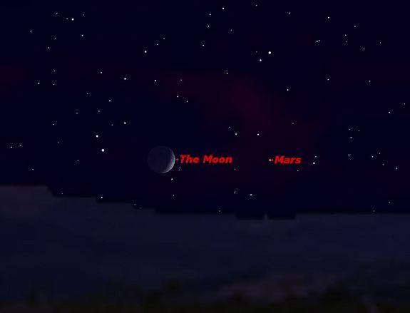 Mars and the moon in close proximity just after sunset on Sept. 19, 2012.