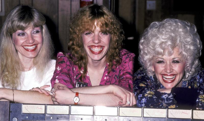 Musicians Stella Parton, Freida Parton, and Dolly Parton at Bearsville Studios in North Hollywood, California for the recording of Freida Parton's Self-Titled Album-'Freida Parton' on January 15, 1981 . (Photo by Ron Galella/Ron Galella Collection via Getty Images)