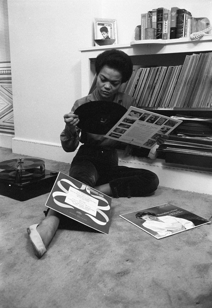 <p>The singer spends an evening organizing and listening to her record collection in her Los Angeles home in 1957. </p>
