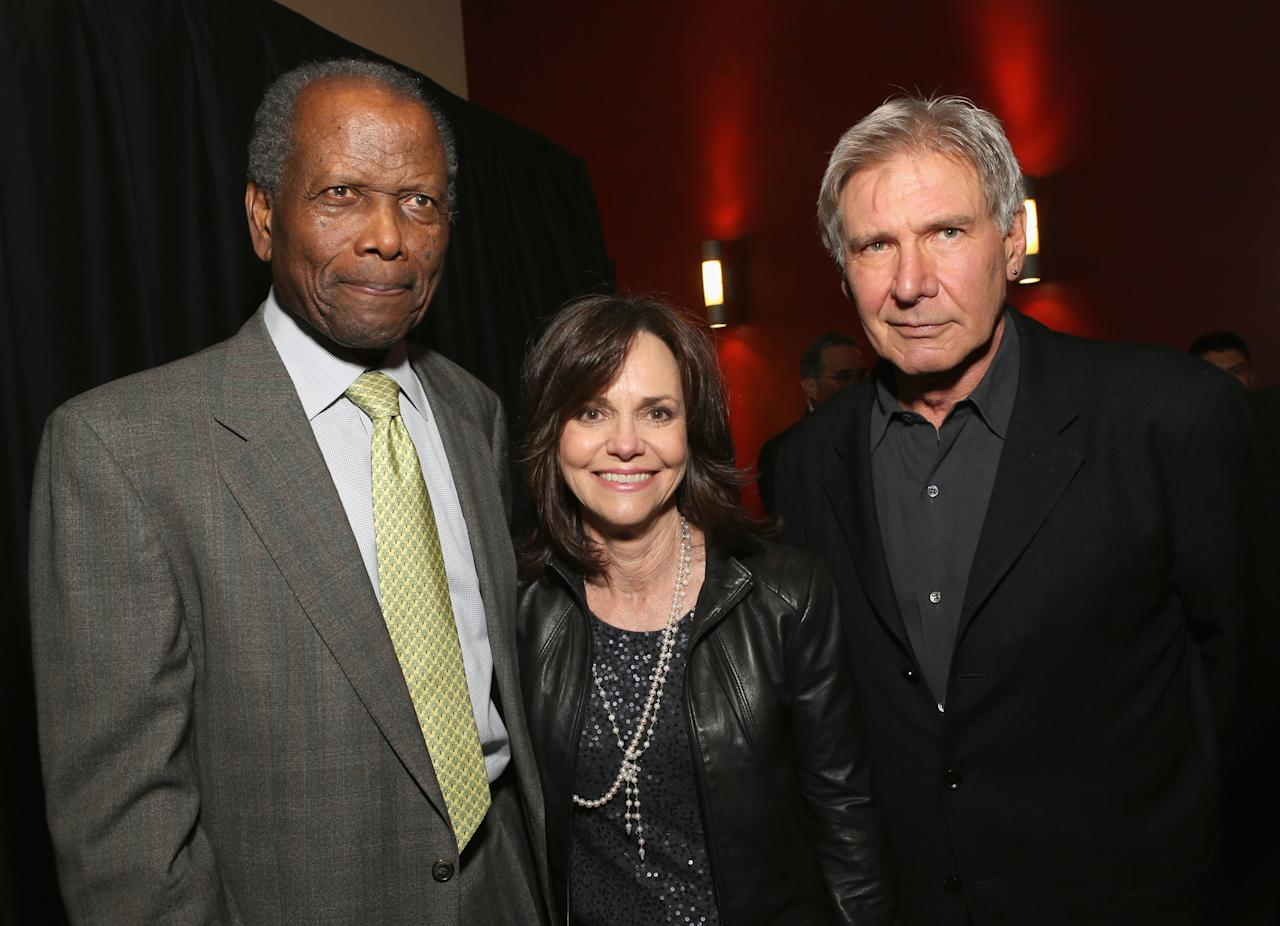 HOLLYWOOD, CA - APRIL 24:  (L-R) Actors Sidney Poitier, Sally Field and Harrison Ford attend Target Presents AFI's Night at the Movies at ArcLight Cinemas on April 24, 2013 in Hollywood, California.  (Photo by Jesse Grant/Getty Images for AFI)
