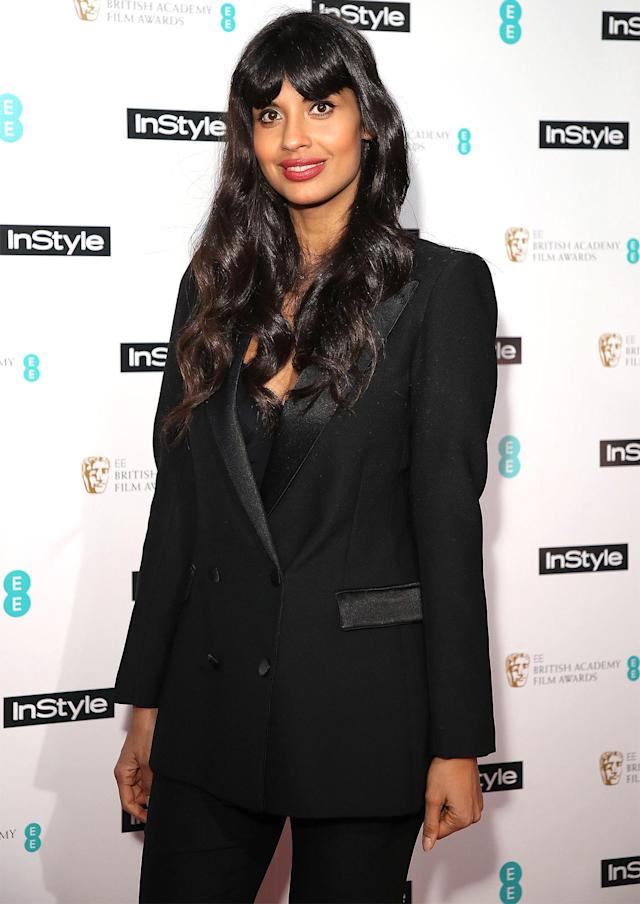 A friend of Jameela Jamil, shown here, was put into a chokehold by Emile Hirsch. Now he's getting a second chance. (Photo: People)