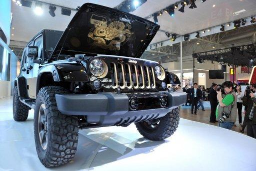 A Jeep model is displayed at the Auto China 2012 exhibition in Beijing