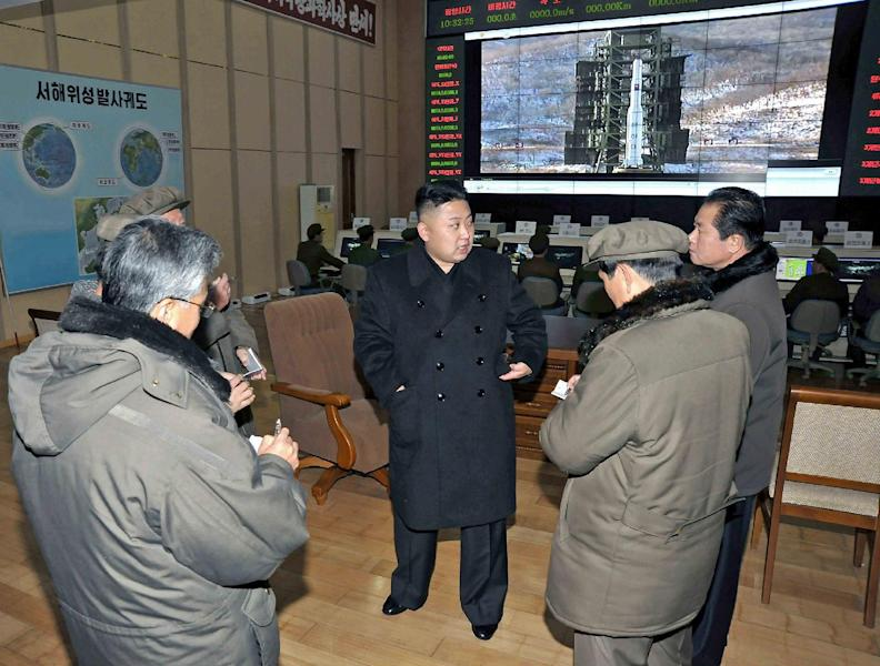 Undated photo released by KCNA on December 15, 2012 shows North Korean leader Kim Jong-Un visiting the Sohae Space Center in Cholsan County, North Phyongan Province (AFP Photo/)