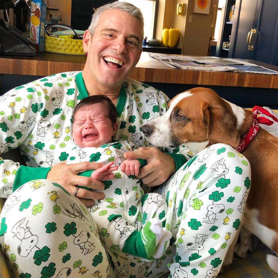 """Father and son pretty much nailed <a href=""""https://www.instagram.com/p/BvHTuN9l37t/"""" rel=""""nofollow noopener"""" target=""""_blank"""" data-ylk=""""slk:their first crying baby pic"""" class=""""link rapid-noclick-resp"""">their first crying baby pic</a> — on St. Patrick's Day, no less."""