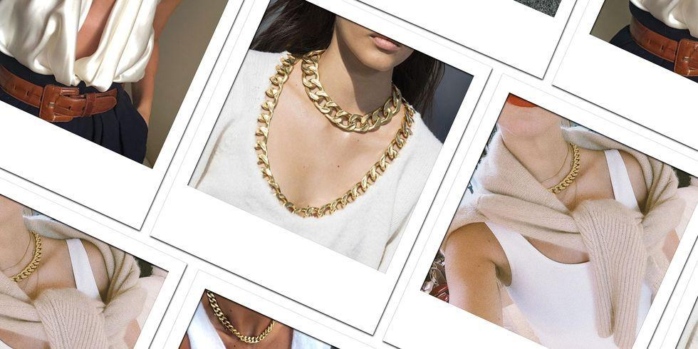 <p>Though dainty gold chains have been decorating the décolletage<em> </em>for seasons, fashion is taking the look up a notched link. From designer chains to Cuban links, these on-trend pieces are actually a return to a classic. See who's wearing them well and shop pieces that range from investment to approachable.</p>