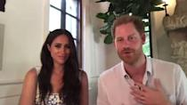 <p>The Duchess wore blue and white for a video call with young leaders in the Queen's Commonwealth Trust network. She kept her hair wavy and makeup simple for the low-key event.</p>