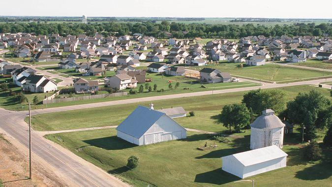 aerial view overlooking Clive and Waukee Iowa