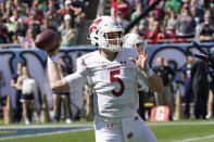 Wisconsin quarterback Graham Mertz passes during the first half of an NCAA college football game against Notre Dame Saturday, Sept. 25, 2021, in Chicago. (AP Photo/Charles Rex Arbogast)
