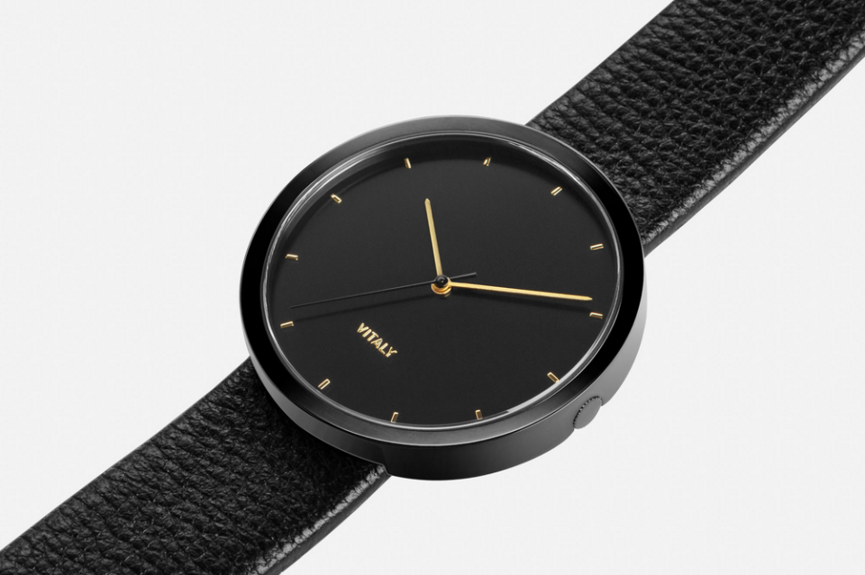 "<p>Pulling inspiration from the streets of New York City, this sleek watch is perfect for the modern dad who loves minimalism. <i>($265 <a href=""http://www.vitalydesign.ca/products/soho-x-black-1"" rel=""nofollow noopener"" target=""_blank"" data-ylk=""slk:via Vitaly"" class=""link rapid-noclick-resp"">via Vitaly</a>) </i></p>"