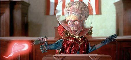 "<p>MARS ATTACKS! (1996): What happens when Tim Burton directs an alien film? ""Mars Attacks!"" is born. Amid speculation that a meteorite crashed to Earth from Mars some 15,000 years ago and contains indications of simple life forms, ""Mars Attacks!"" offers definitive proof of life on the Angry Red Planet. No single-celled organisms, these alien invaders are the big-brained variety with a flair for ray guns and planetwide pandemonium. Citizens of Earth face their doom with gung-ho valor and brainless abandon as little green men from outer space gleefully terrorize the planet in an all-star, cross-country sci-fi comedy.</p>"