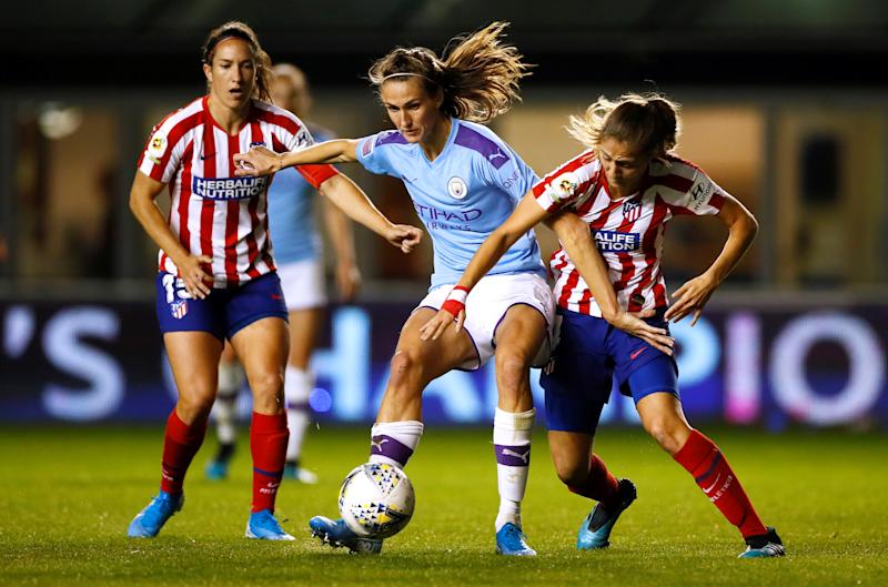 Manchester City's Jill Scott in action with Atletico Madrid's Laia Aleixandri Action Images via Reuters/Jason Cairnduff
