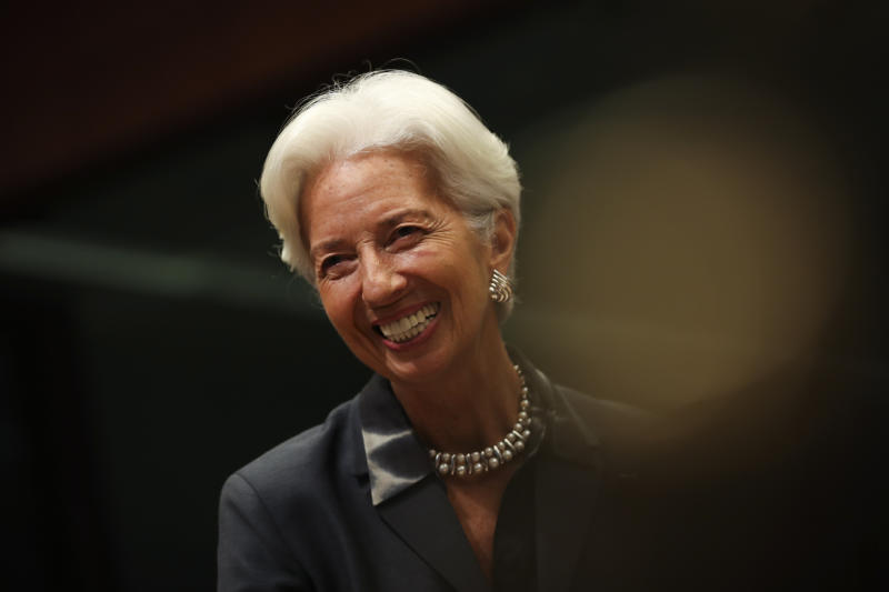 European Central Bank President Christine Lagarde smiles during a meeting of European Union Finance Ministers in Eurogroup format at the Europa building in Brussels, Monday, Jan. 20, 2020. (AP Photo/Francisco Seco)