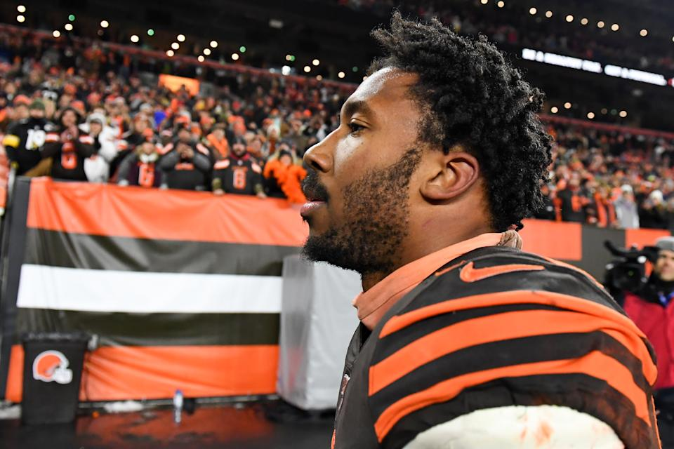 Myles Garrett says that he didn't intend for his accusation that Mason Rudolph made a racial slur to go public. (Nick Cammett/Diamond Images via Getty Images)