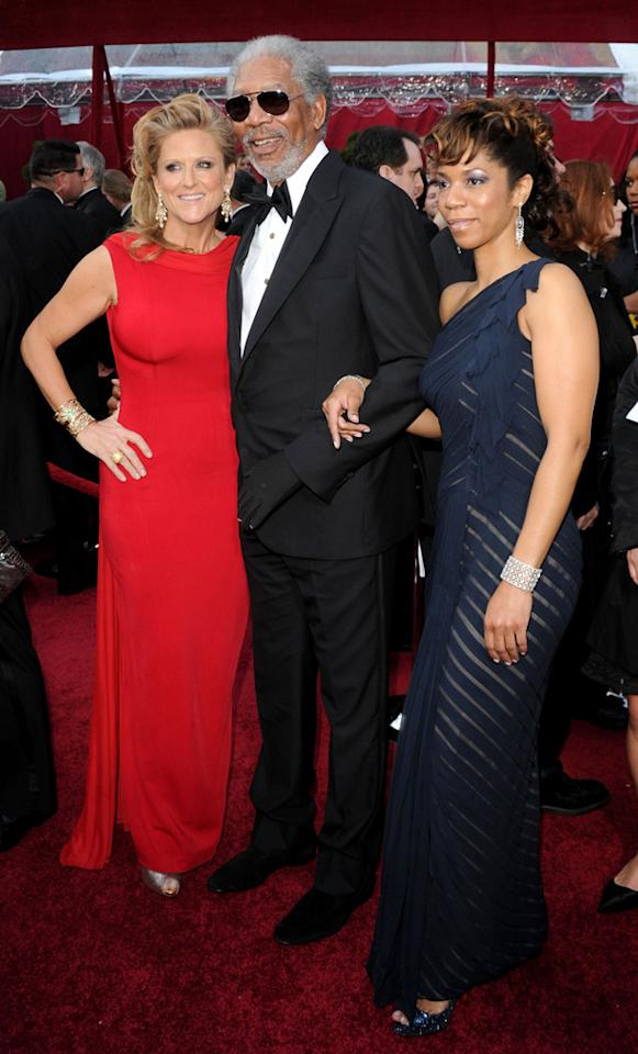 Morgan Freeman with producer Lori McCreary and daughter Morgana at the 82nd Annual Academy Awards held at Kodak Theatre on March 7, 2010 in Hollywood, California.
