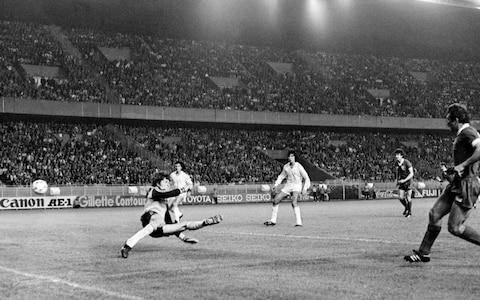 <span>Alan Kennedy scores Liverpool's winner in the 1981 final against Real Madrid</span> <span>Credit: DOMINIQUE FAGET/AFP/Getty Images </span>