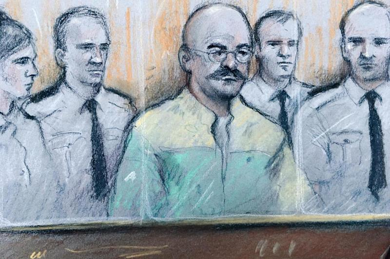 A court sketch of Bronson in Leeds Crown Court (PA)