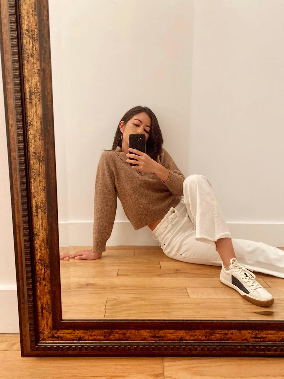 """<p>""""These days, I'm very much on board with anything positive, besides COVID-19 test results. Given the fashion industry's pollution problem, <a href=""""https://www.popsugar.com/fashion/what-is-sustainable-fashion-48012965"""" class=""""link rapid-noclick-resp"""" rel=""""nofollow noopener"""" target=""""_blank"""" data-ylk=""""slk:buying sustainable"""">buying sustainable</a> and/or upcycled clothing is a big priority for me in the new year. Because, let's be real, we could all use something optimistic to start 2021 off right.""""</p>"""
