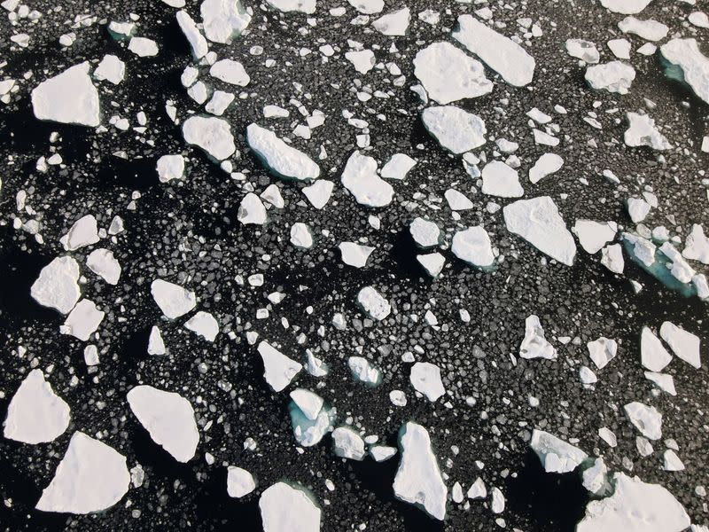 FILE PHOTO: An aerial view of floating ice in the Arctic Ocean
