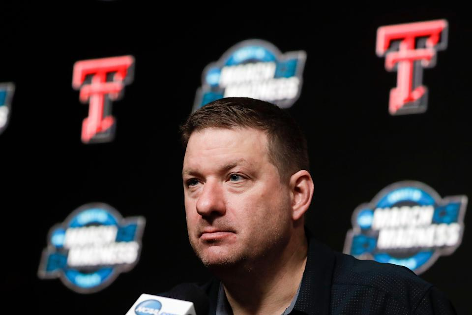 Texas Tech head coach Chris Beard speaks during a news conference at the NCAA men's college basketball tournament in Anaheim, Calif., Wednesday, March 27, 2019. Texas Tech plays Michigan in a West Regional semifinal on Thursday. (AP Photo/Chris Carlson)