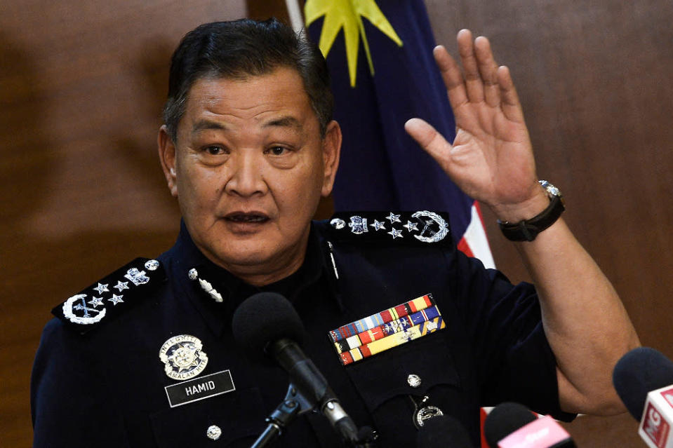 Inspector-General of Police, Tan Sri Abdul Hamid Bador speaks during a press conference at Bukit Aman headquarters July 10,2020. — Picture by Miera Zulyana