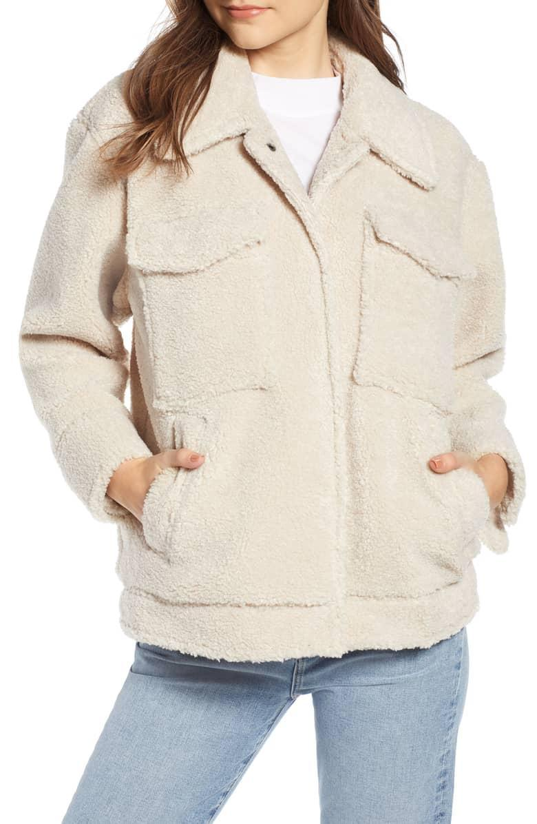 """<p>The shearling coat style has been popular for a few years now, and it doesn't seem like it will be slowing down anytime soon. Pick up this chic style on major discount before it sells out.<br><strong>SHOP IT: <a href=""""https://fave.co/2uvbUHK"""" rel=""""nofollow noopener"""" target=""""_blank"""" data-ylk=""""slk:Nordstrom, $84"""" class=""""link rapid-noclick-resp"""">Nordstrom, $84</a></strong> (regular $200)<br><em>(Photo courtesy Nordstrom)</em> </p>"""