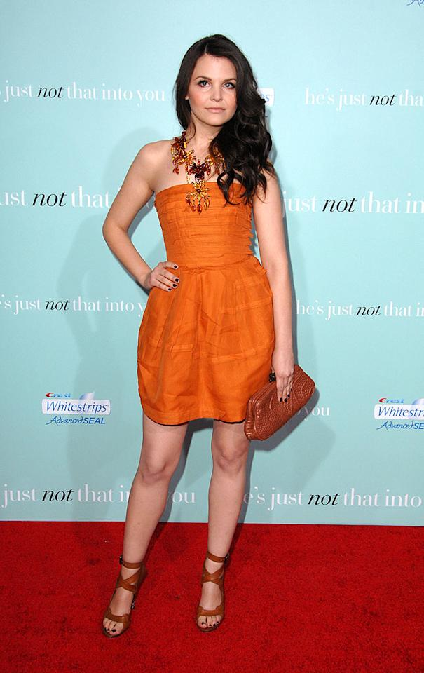"ScarJo's ""He's Just Not That Into You"" co-star Ginnifer Goodwin dressed to impress at the film's premiere in a burnt orange Bottega Venneta cocktail frock and strappy heels. Steve Granitz/<a href=""http://www.wireimage.com"" target=""new"">WireImage.com</a> - February 2, 2009"