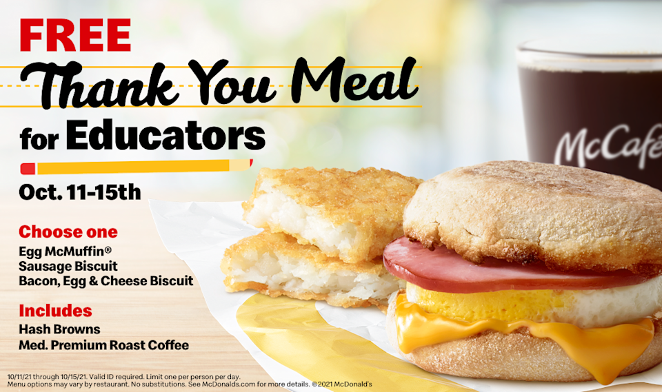 McDonald's is hosting a breakfast giveaway for schoolteachers, staff and administrators.