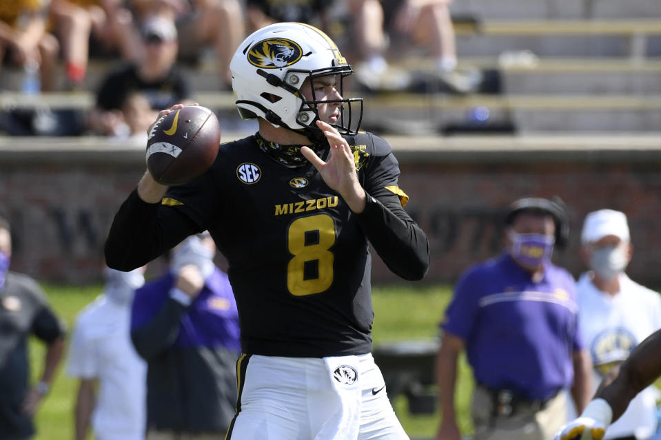 Missouri quarterback Connor Bazelak throws during the second half of an NCAA college football game against LSU Saturday, Oct. 10, 2020, in Columbia, Mo. (AP Photo/L.G. Patterson)