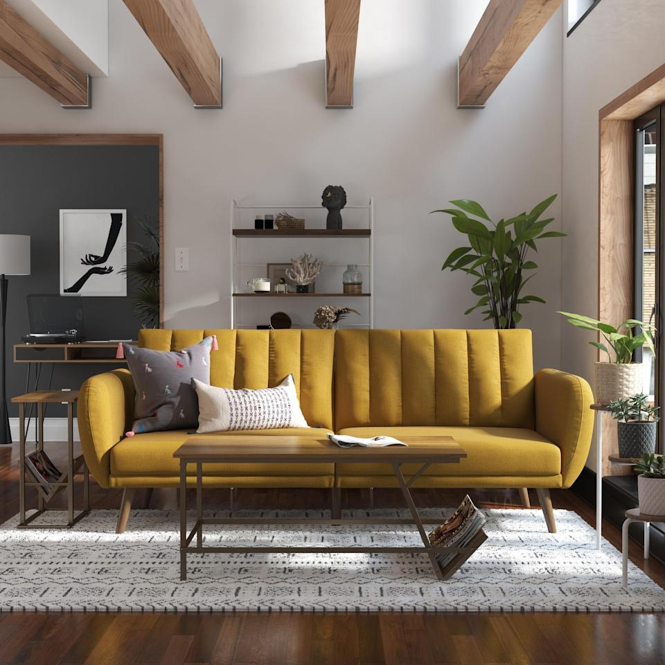 <p>This <span>Novogratz Brittany Linen Futon Couch</span> ($299) is stylish, easy to clean and cheerful.</p>