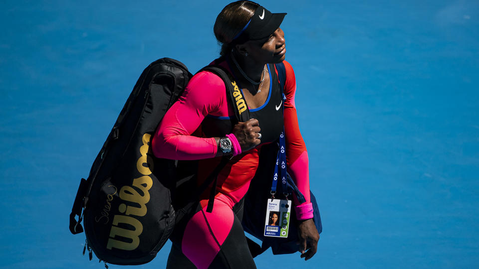 Serena Williams, pictured here after her loss to Naomi Osaka at the Australian Open.