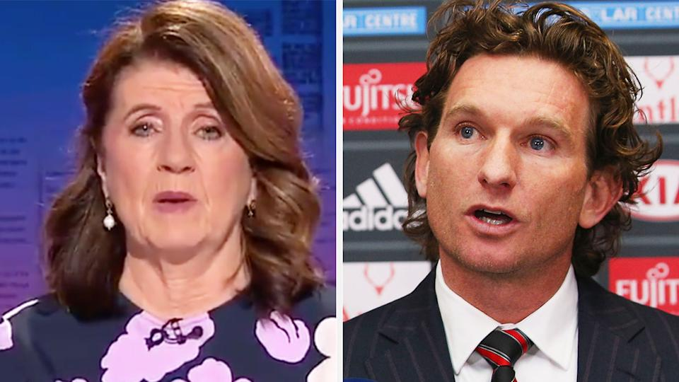 AFL journalist Caroline Wilson says a 2014 report incorrectly stated James Hird had been sacked as coach of the Essendon Bombers as one of the biggest regrets in her career. Pictures: Channel 9/Getty Images