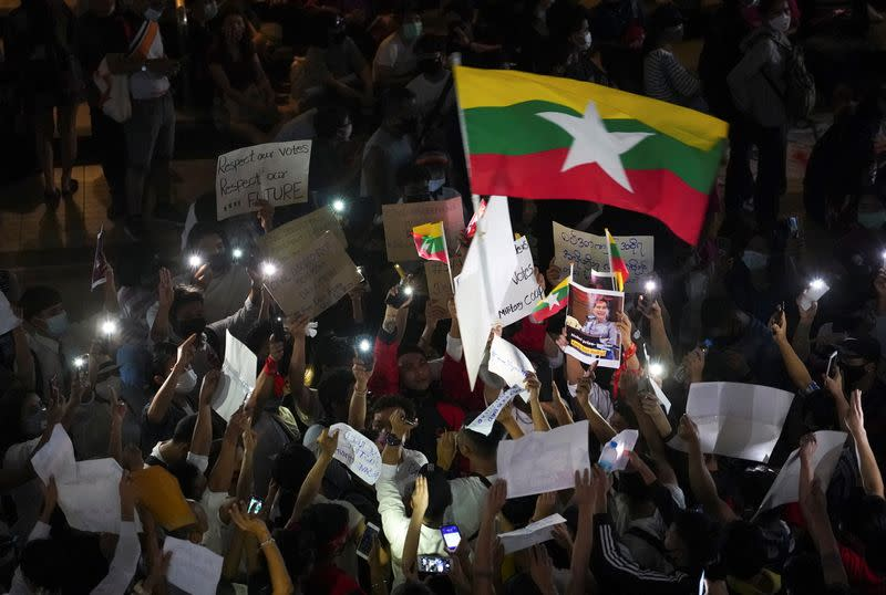 Protest against the military coup in Myanmar in Bangkok
