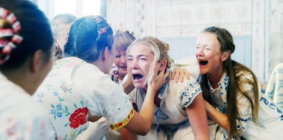 """<p>A couple (Jack Reynor and Florence Pugh) on the brink of a breakup decide to attend a nine-day midsummer festival in Sweden as a wanderlusty distraction. At first the festival seems like an absolute delight, with all its flower crowns, choreographed dances, and traditional garments. And then, because <em>of course</em>, animal carcasses, smeared blood, sacrifices, and drugged lemonade get into the mix.</p> <p><a href=""""https://www.amazon.com/Midsommar-Florence-Pugh/dp/B07TFVD9BQ/ref=sr_1_1?crid=52VOTL95L8IB&amp;dchild=1&amp;keywords=midsommar&amp;qid=1597680368&amp;sprefix=Midsommar%2Caps%2C421&amp;sr=8-1"""" class=""""link rapid-noclick-resp"""" rel=""""nofollow noopener"""" target=""""_blank"""" data-ylk=""""slk:Watch Midsommar on Amazon Prime now"""">Watch <strong>Midsommar</strong> on Amazon Prime now</a>.</p>"""