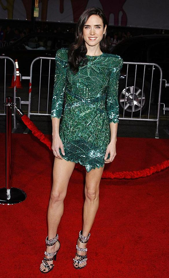 """""""He's Just Not That Into You's"""" Jennifer Connelly unsuccessfully attempted to rock an emerald mini at the film's premiere. Guess what, Jen? It's no longer 1986, and we're just not that into shoulder pads. Jeffrey Mayer/<a href=""""http://www.wireimage.com"""" target=""""new"""">WireImage.com</a> - February 2, 2009"""