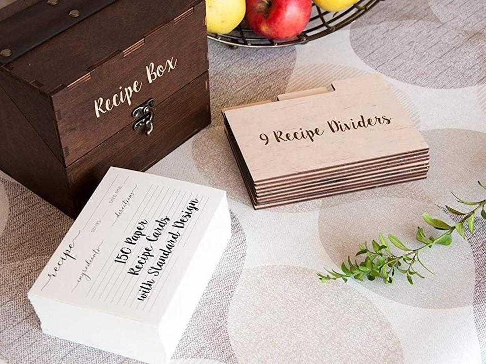 <p>The <span>The Secret Ingredient is Love Custom Recipe Box with Cards </span> ($20) will let you capture and treasure your families best recipes. </p>