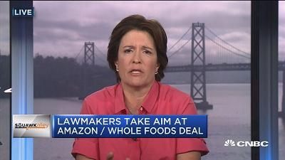 Kara Swisher, Recode, talks about Congressional Democrats like Sen. Cory Booker (D-N.J.) taking aim at the Amazon-Whole Foods deal and other tech names for antitrust concerns.