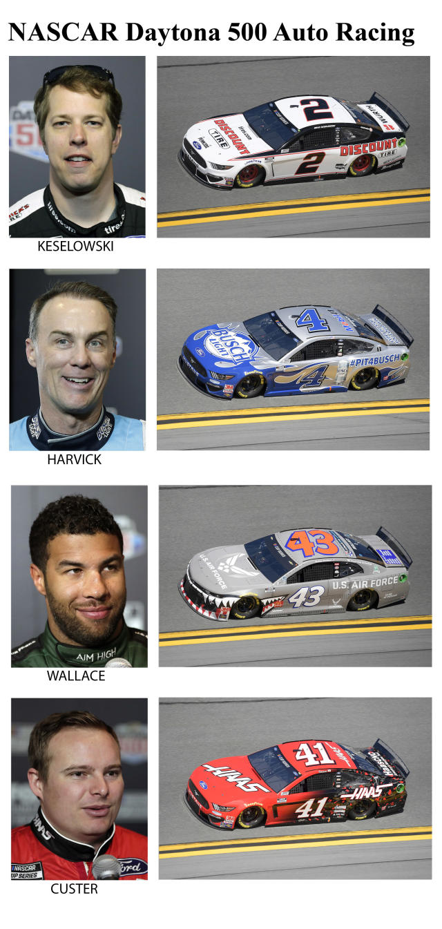These photos taken in February 2020 show drivers in the starting lineup for Sunday's NASCAR Daytona 500 auto race in Daytona Beach, Fla. From top are Brad Keselowski, starting in the ninth position; Kevin Harvick, tenth position; Bubba Wallace, eleventh position and Cole Custer, twelfth position. (AP Photo)