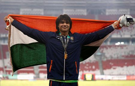 FILE PHOTO: Athletics - 2018 Asian Games - Men's Javelin Throw - GBK Main Stadium, Jakarta, Indonesia - August 27, 2018 Gold medalist Neeraj Chopra of India REUTERS/Darren Whiteside