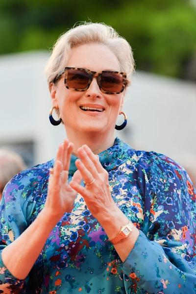 US actress Meryl Streep kept things simple for the screening of the film 'The Laundromat' by accessorizing her updo with a coral lip and a pair of statement tortoiseshell sunglasses