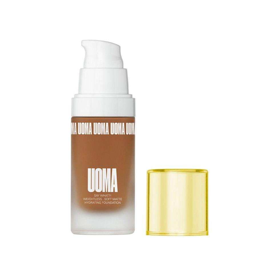 "<p>uomabeauty.com</p><p><strong>$39.00</strong></p><p><a href=""https://uomabeauty.com/products/say-what-foundation?variant=27728797630563"" rel=""nofollow noopener"" target=""_blank"" data-ylk=""slk:Shop Now"" class=""link rapid-noclick-resp"">Shop Now</a></p><p>Sharon Chuter created Uoma beauty with her African heritage in mind. Uoma, which translates to beautiful in Igbo, aims to identify and address the skin concerns associated with different skin tones, especially in the creation of its foundation. Choose from collections black pearl, bronze venus, brown sugar, honey honey, fair lady, and white pearl.</p>"