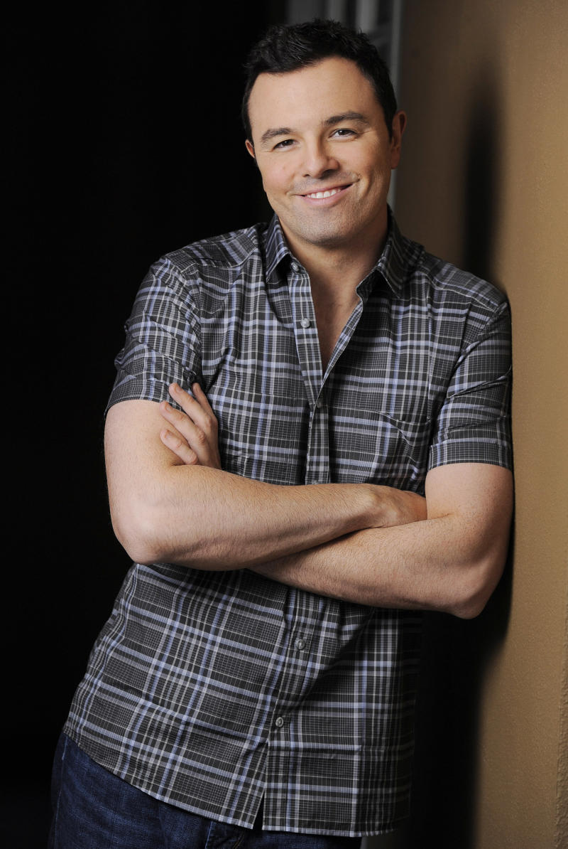 "This June 16, 2012 photo shows Seth MacFarlane, director and co-writer of the film ""TED,"" posing for a portrait at The Four Seasons Hotel in Beverly Hills, Calif. TV's animation king with ""Family Guy,"" ""American Dad!"" and ""The Cleveland Show,"" MacFarlane adds to his renaissance man resume as writer, director, producer and voice star of ""Ted,"" a raunchy but warmhearted tale of a grown man and his best buddy, a talking teddy bear. (Photo by Chris Pizzello/Invision/AP)"