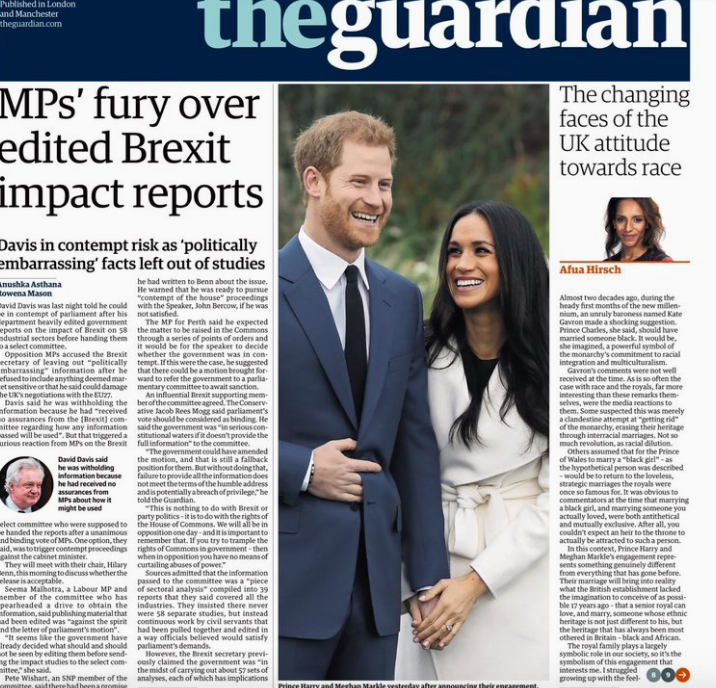 <em>The Guardian comment on the changing attitudes to race with regards to the Royal Wedding</em>
