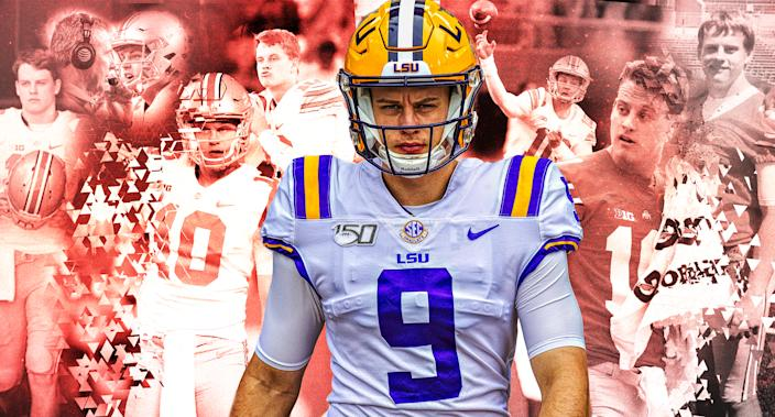 LSU Heisman contender Joe Burrow has come a long way from his days at Ohio State. (Yahoo Sports illustration)