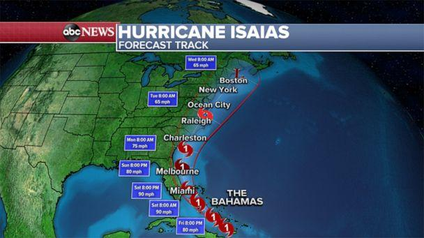 PHOTO: A weather map shows the forecast for Hurricane Isaias as of 11am ET, July 31, 2020. (ABC News)