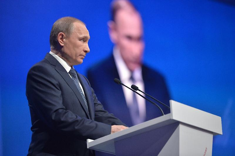 Russian President Vladimir Putin delivers a speech at a meeting with activists of the All-Russian People's Front in the southern Russian city of Stavropol on January 25, 2016