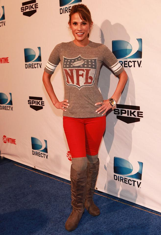 Model Bonnie-Jill Laflin arrives at the DirecTV Celebrity Beach Bowl in Indianapolis.